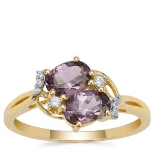 Mahenge Purple Spinel Ring with White Zircon in 9K Gold 1.35cts