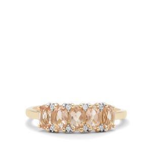 Padparadscha Oregon Sunstone Ring with White Zircon in 9K Gold 1.15cts