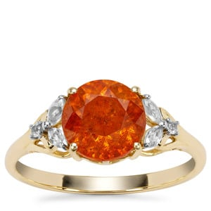 Aliva Sphalerite Ring with White Zircon in 9K Gold 2.58cts