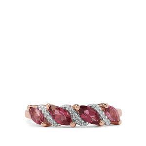 Malaya Garnet & Diamond 9K Rose Gold Ring ATGW 1.06cts
