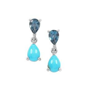 Sleeping Beauty Turquoise & Marambaia London Blue Topaz Sterling Silver Earrings ATGW 2.25cts
