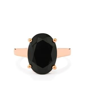 Black Spinel Ring in Rose Gold Plated Sterling Silver 7.45cts