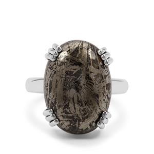 Feather Pyrite Ring in Sterling Silver 14cts