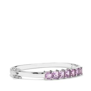 Asscher Cut Zambian Amethyst Oval Bangle in Sterling Silver 7.23cts