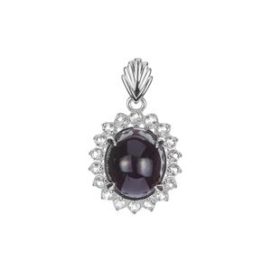 Star Garnet Pendant with White Zircon in Sterling Silver 10.53cts