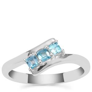 Swiss Blue Topaz Ring in Sterling Silver 0.41ct