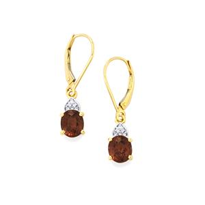 Bekily Color Change Garnet Earrings with Diamond in 18k Gold 3.16cts