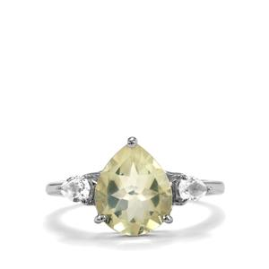 Chartreuse Sanidine Ring with White Topaz in Sterling Silver 3.09cts
