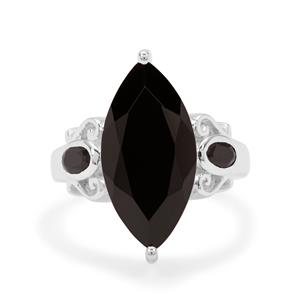 8.70ct Black Spinel Sterling Silver Ring