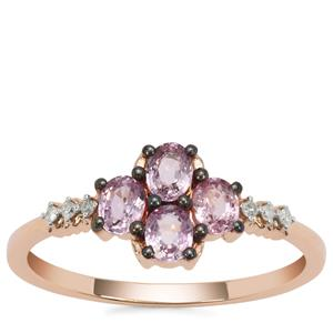 Sakaraha Pink Sapphire Ring with Diamond in 9K Rose Gold 0.72cts