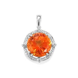Padparadscha Quartz Pendant with White Topaz in Sterling Silver 7.52cts