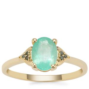 Malysheva Emerald Ring with Green Diamond in 9K Gold 1.06cts