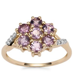 Mahenge Purple Spinel Ring with Diamond in 10k Gold 1.33cts
