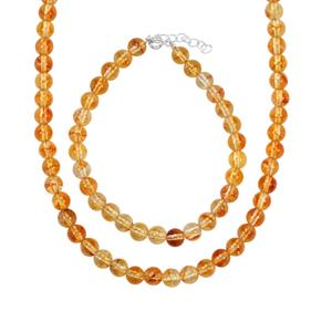 135ct Diamantina Citrine Sterling Silver Set of Bead Necklace & Bracelet