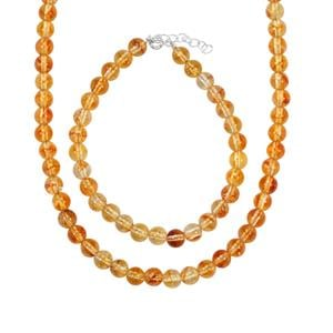 Diamantina Citrine Set of Bead Necklace & Bracelet in Sterling Silver 135cts