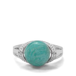 Amazonite & White Zircon Sterling Silver Ring ATGW 6.84cts