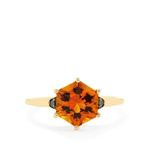 Santa Ana Citrine Polaris Ring with Green Diamond in 9K Gold 2.28cts