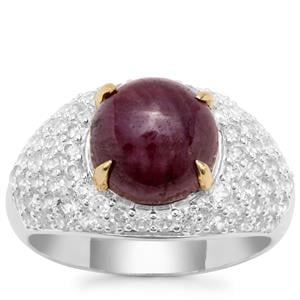 Ruby Ring with White Zircon in Sterling Silver 5.70cts