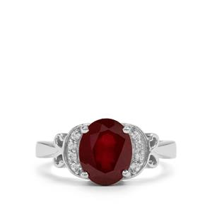 Malagasy Ruby & White Zircon Sterling Silver Ring ATGW 4.29cts (F)