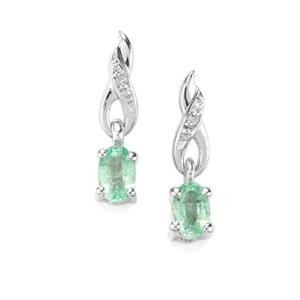 Zambian Emerald & Diamond Sterling Silver Earrings ATGW 0.46cts