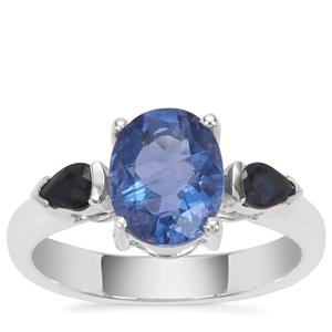 Colour Change Fluorite Ring with Thai Sapphire in Sterling Silver 2.61cts