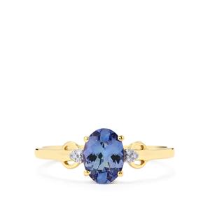 Bi Color Tanzanite Ring with Diamond in 10k Gold 0.93cts