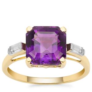 Asscher Cut Moroccan Amethyst Ring with White Zircon in 9K Gold 3.49cts