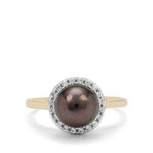 Tahitian Cultured Pearl & White Zircon 9K Gold Ring (8mm)