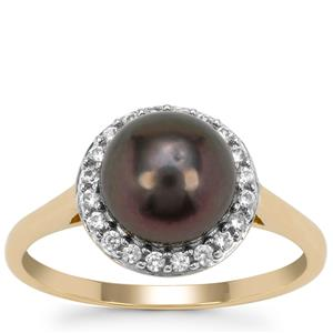 Tahitian Cultured Pearl Ring with White Zircon in 9K Gold (8mm)