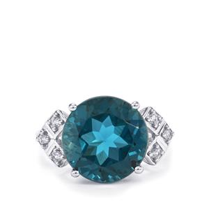 Marambaia London Blue Topaz Ring with White Zircon in 9K White Gold 8.33cts