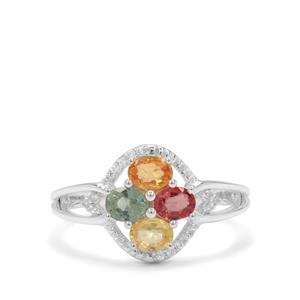 Songea Rainbow Sapphire & White Zircon Sterling Silver Ring ATGW 1.37cts