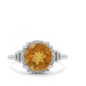 Burmese Amber & White Zircon Sterling Silver Ring ATGW 1.25cts