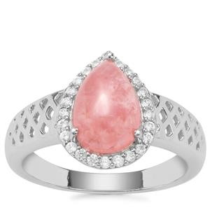 Rhodochrosite Ring with White Zircon in Sterling Silver 2.87cts