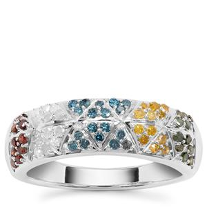 Multi-color Diamond Ring with in Sterling Silver 0.52ct