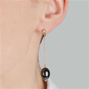 Diamond Black Ceramic 9K Gold Earrings