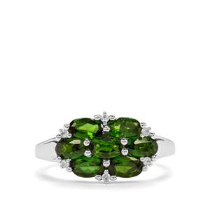 Chrome Diopside & White Zircon Sterling Silver Ring ATGW 1.87cts