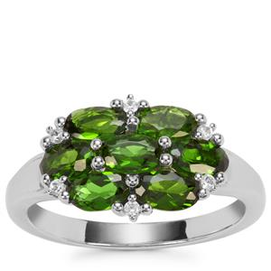 Chrome Diopside Ring with White Zircon in Sterling Silver 1.87cts