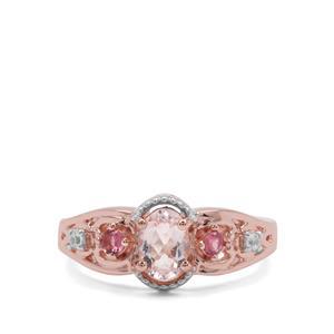 Zambezia Morganite, Oyo Pink Tourmaline & White Zircon Rose Midas Ring ATGW 0.79ct