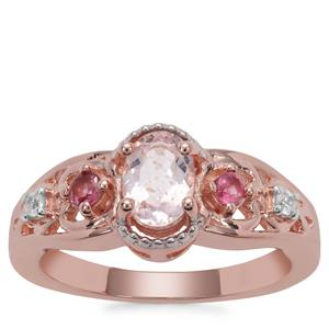 Zambezia Morganite, Oyo Pink Tourmaline Ring with White Zircon in Rose Gold Plated Sterling Silver 0.79ct