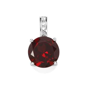 Rajasthan Garnet Pendant with White Topaz in Sterling Silver 3.11cts