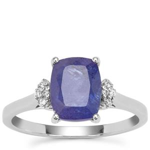 Tanzanite Ring with White Zircon in 9K White Gold 2.64cts