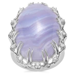 Blue Lace Agate Ring with White Zircon in Sterling Silver 20.40cts