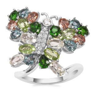 Kaleidoscope Gemstones Ring in Sterling Silver 4.57cts