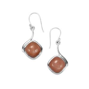 Peach Moonstone Earrings in Sterling Silver 13cts