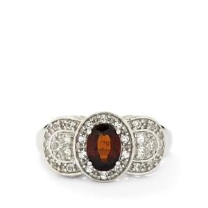 Ciana Hessonite Garnet & White Topaz Sterling Silver Ring ATGW 1.41cts