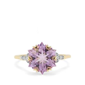 Wobito Snowflake Cut Rose De France Amethyst Ring with Diamond in 9K Gold 4.22cts