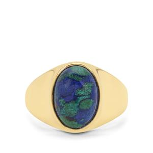 Azure Malachite Ring in Gold Plated Sterling Silver 6.49cts