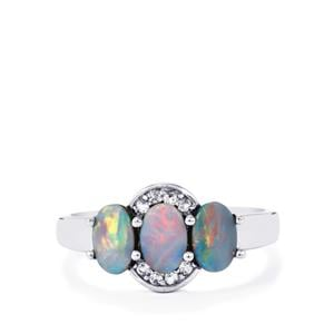 Boulder Opal Ring with White Topaz in Sterling Silver