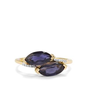 Bengal Iolite & Diamond 9K Gold Ring ATGW 1.52cts