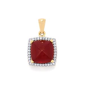 Malagasy Ruby Pendant with White Zircon in 9K Gold 9.85cts (F)
